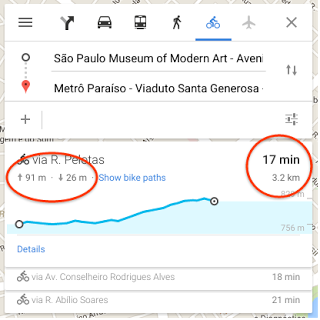 """ciclismo"" dentro do app do Google Maps."