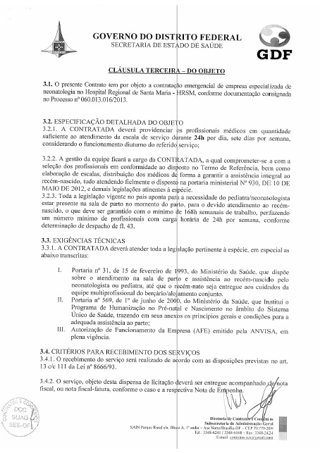 Objeto ajuste de caráter emergencial no contrato ano 2013