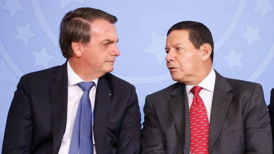 Presidente Jair Bolsonaro e o vice-Presidente da República, Hamilton Mourão.