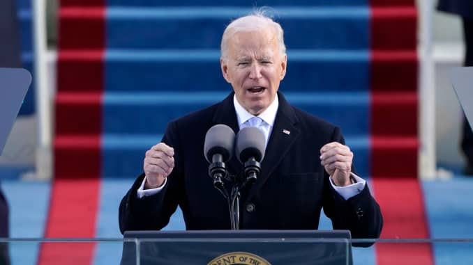 US President Joe Biden speaks after taking office as 46th US President during the 59th presidential inauguration at the US Capitol in Washington, January 20, 2021.