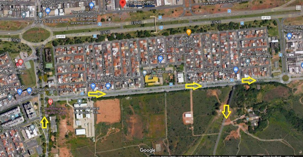DF-075 (EPNB) km 2,5 sentido Núcleo Bandeirante/Riacho Fundo